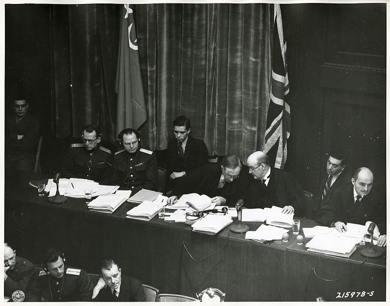 A panel of international justices and attorneys at the Nuremberg Trials